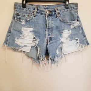 Vintage Levi's Distressed High Rise Denim Shorts